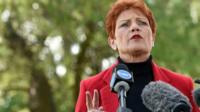 Pauline Hanson, speaks during a news conference in Brisbane, Australia, July 4, 2016.