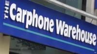 Close up of Carphone Warehouse logo