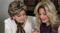 Attorney Gloria Allred, left, comforts Summer Zervos
