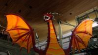 A model of a dragon the Senedd