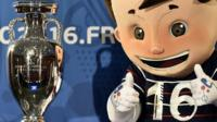 Euro 2016 mascot with Henri Delaunay cup