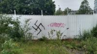 A swastika tag left on the University of South Wales' Newport City Campus