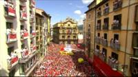 Thousands of people gather in the central square of Pamplona