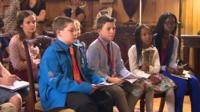 Children at a press conference at Downing Street