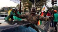 There were scenes of celebration on the streets of the capital, Harare.