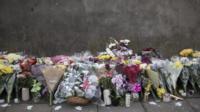 Floral tributes in Tottenham