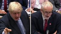 Composite image of Boris Johnson and Jeremy Corbyn