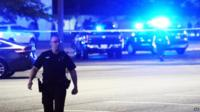 Police near scene of shooting at a cinema in Lafayette, Louisiana
