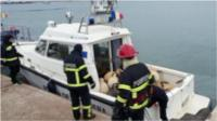Rescue crew managed to save some sheep from a ship that overturned off Romania's port of Midia.