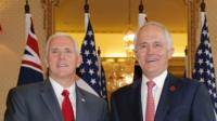 Vice-President Mike Pence (l) with Australian Prime Minister Malcolm Turnbull