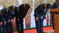 Bosses of Lotte Group bow in apology.