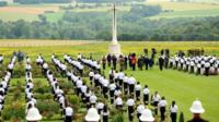 Wreath-laying ceremony at Thiepval, France, during commemorations to mark the centenary of the Battle of the Somme
