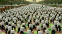 Mass yoga session in Delhi