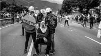 Anti-government protesters in Caracas, Venezuela