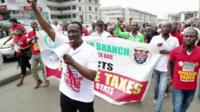 Protestors in Lagos, Nigeria