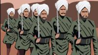 An illustration of Sikh soldiers marching