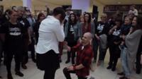 Joe Livermore proposing to Billie Toms