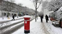 A snowy street scene