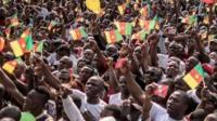 A crowd of supporters of the leader of the Cameroonian opposition
