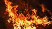 Flaming longboat in Sheringham