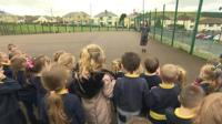Pupils at Fochriw Primary school