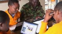Women at Langata prison learning computer skills