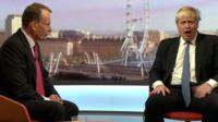 Foreign Secretary Boris Johnson jokes that Andrew Marr has stolen his best lines in a discussion on Brexit.