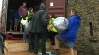 Donations from Bangor are loaded onto a lorry to go Lebanon