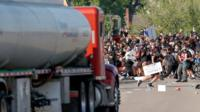 Tanker being driven at protesters in Minneapolis