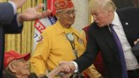 President Trump mocked a political rival as Pocahontas - as he welcomed Native Americans to the White House.