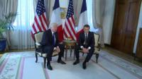 Donald Trump (L) meets Emmanuel Macron in Brussels, 25 May