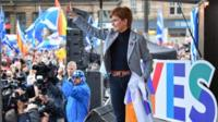 Nicola Sturgeon addresses Independence supporters gather at an IndyRef2 rally in George Square
