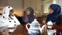 From left to right: Habiba Osman, Aisha Mohammed and Yasmin Ahmed discuss female genital mutilation at the kitchen table