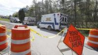 Emergency services at one of the crime scenes in rural Ohio