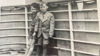 Gerald Granston with a friend aboard the SS St Louis