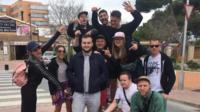 Joe McGrath and his new friends in Majorca