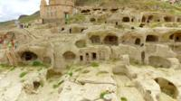 An underground city carved into the rock in the city of Nevsehir, Turkey