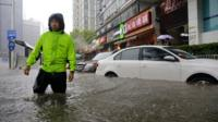Flooded street in heavy rain in Wuhan