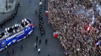 France team on bus