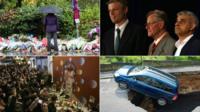 Person laying tributes/Sadiq Khan/car in sinkhole/David Bowie mural