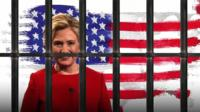 Graphic of Hillary Clinton behind bars