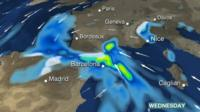 BBC Weather graphics showing heavy rain across Spain, France and Italy.