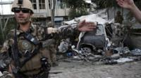 Afghan security forces at site of blast