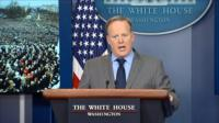 Sean Spicer angry at the podium.