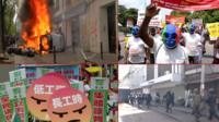 Montage of May Day rallies