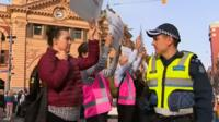 vegans and police face off in Melbourne