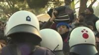 Migrants on the Greek-Macedonian border