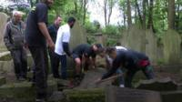Weightlifters at the cemetery