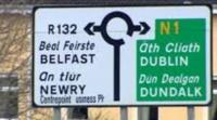 Road sign showing Belfast and Dublin