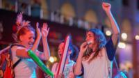 Russia fans celebrate near Red Square, 19 June